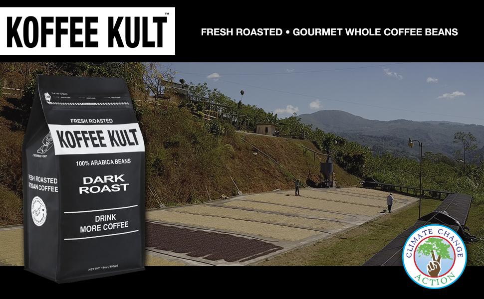 Koffee Kult Dark Roast Coffee Beans - Highest Quality - Whole Bean Coffee - Fresh Coffee Beans