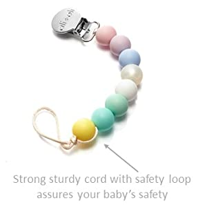 Modern Pacifier Clip for Baby - 100% BPA Free Silicone Beads (Natural) Binky Holder for Newborn - Infant Baby Shower Gift - Universal fit MAM - ...