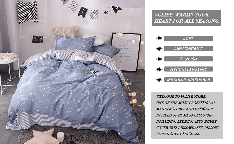 4fbe78958fb8 Amazon.com: VClife Soft Twin Bedding Sets Chic Cotton Duvet Cover ...
