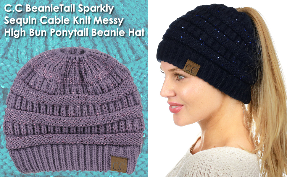 C.C BeanieTail Sparkly Sequin Cable Knit Messy High Bun Ponytail Beanie Hat 3a6c62ac9279