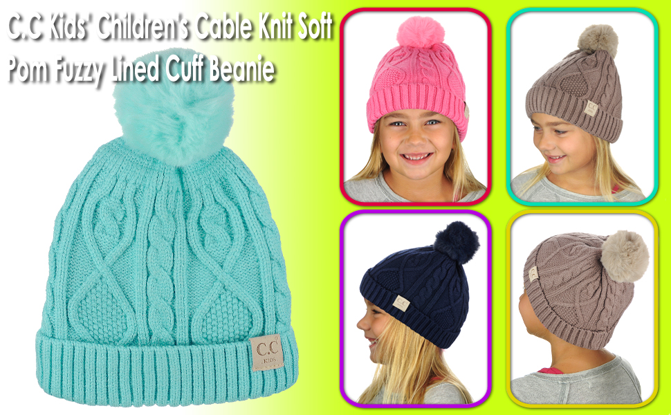 8fe69aab505 Amazon.com  C.C Kids  Children s Cable Knit Soft Pom Fuzzy Lined ...