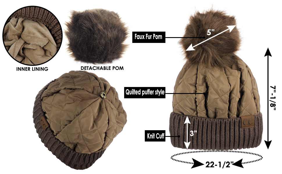 d61c3600bfc C.C Soft Quilted Puffer Detachable Faux Fur Pom Inner Lined Cuff ...