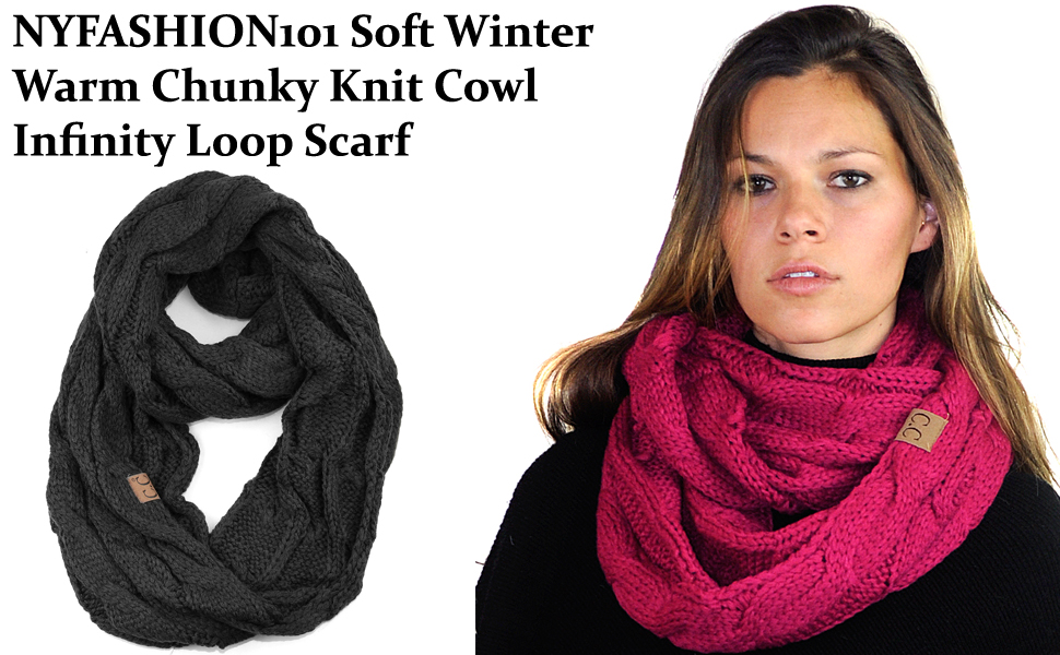 Knitting Loop Scarf : Nyfashion soft winter warm chunky knit cowl infinity loop scarf