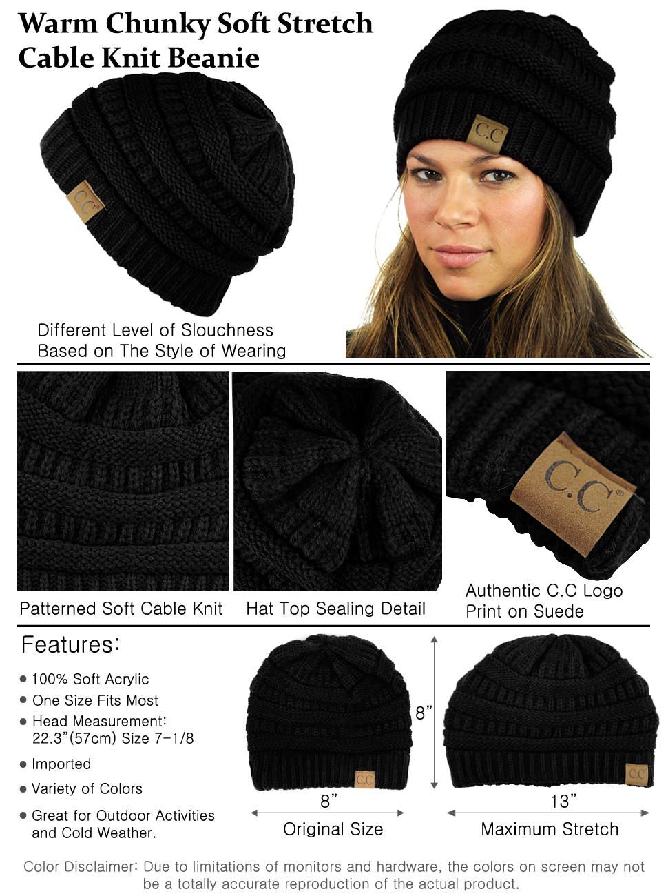 4f4ff769e7c C.C Trendy Warm Chunky Soft Stretch Cable Knit Beanie Skully (2 Tone ...