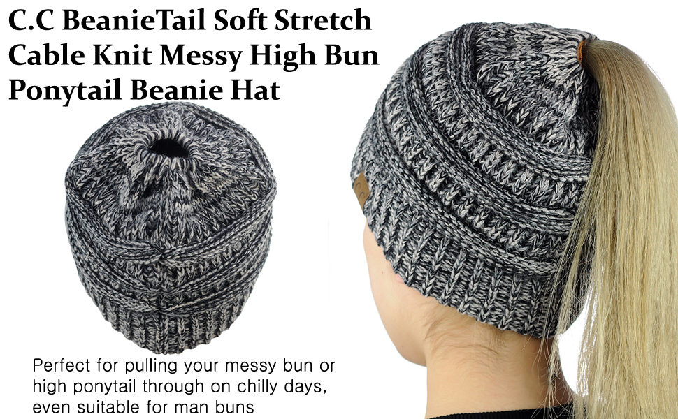 dd20c3ea C.C BeanieTail Soft Stretch Cable Knit Messy High Bun Ponytail Beanie Hat