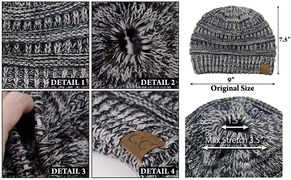 9197c77001108 C.C BeanieTail Soft Stretch Cable Knit Messy High Bun Ponytail ...