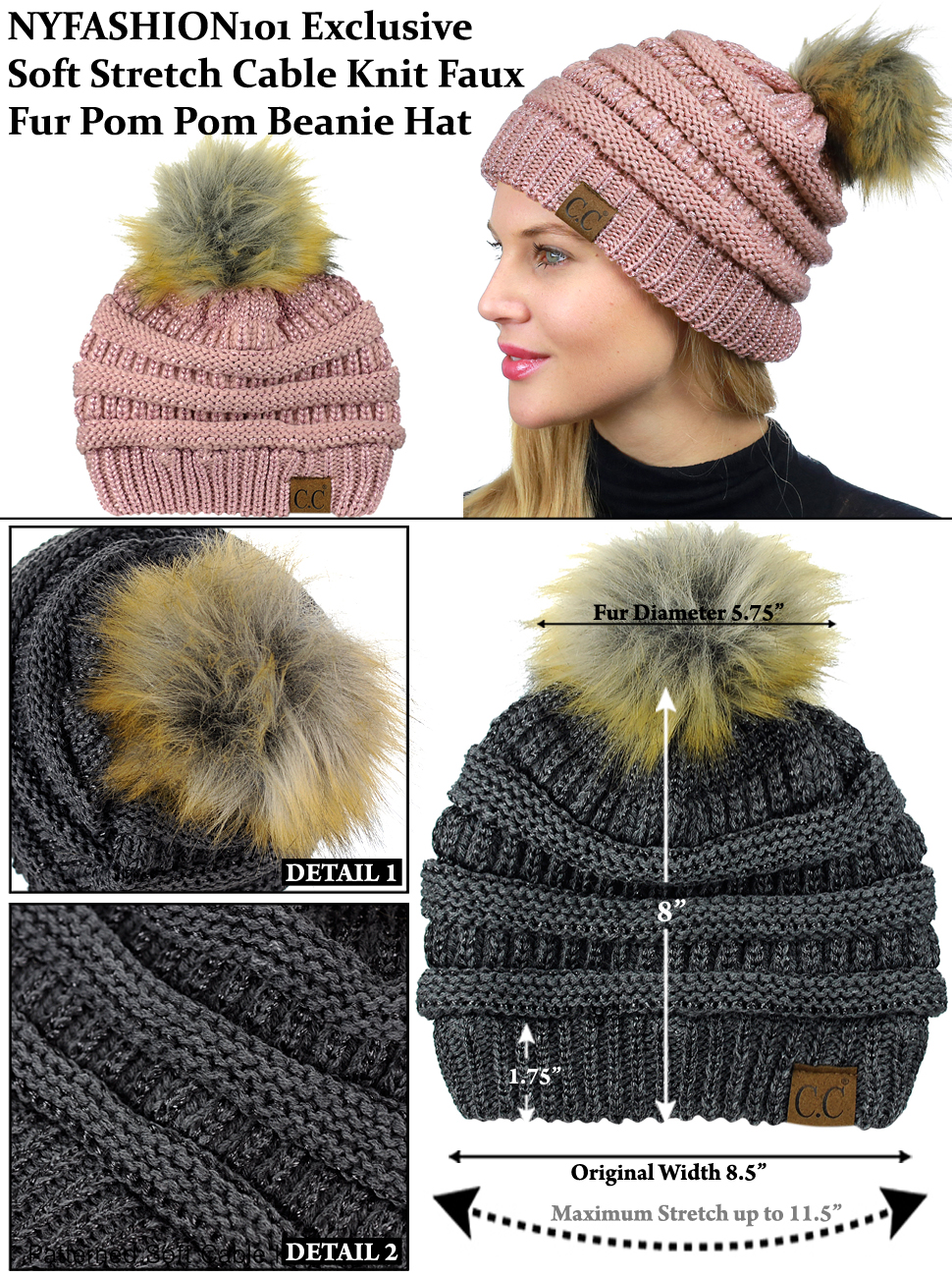 6e99b6143359c NYFASHION101 Exclusive Soft Stretch Cable Knit Faux Fur Pom Pom ...