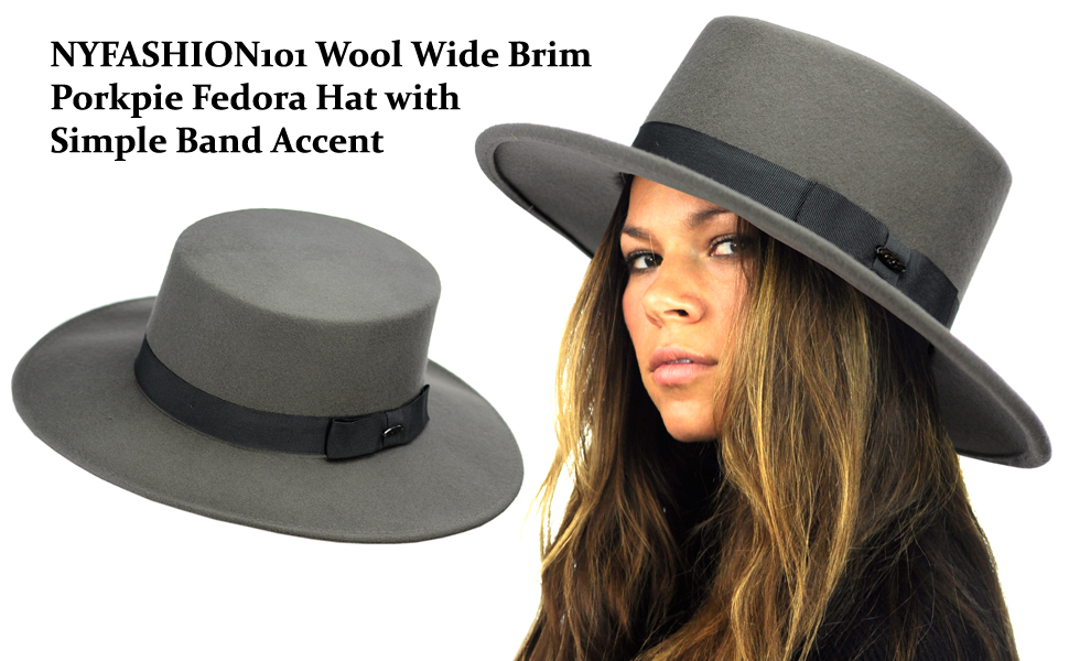 053a6b20 NYFASHION101 Wool Wide Brim Porkpie Fedora Hat w/Simple Band Accent ...