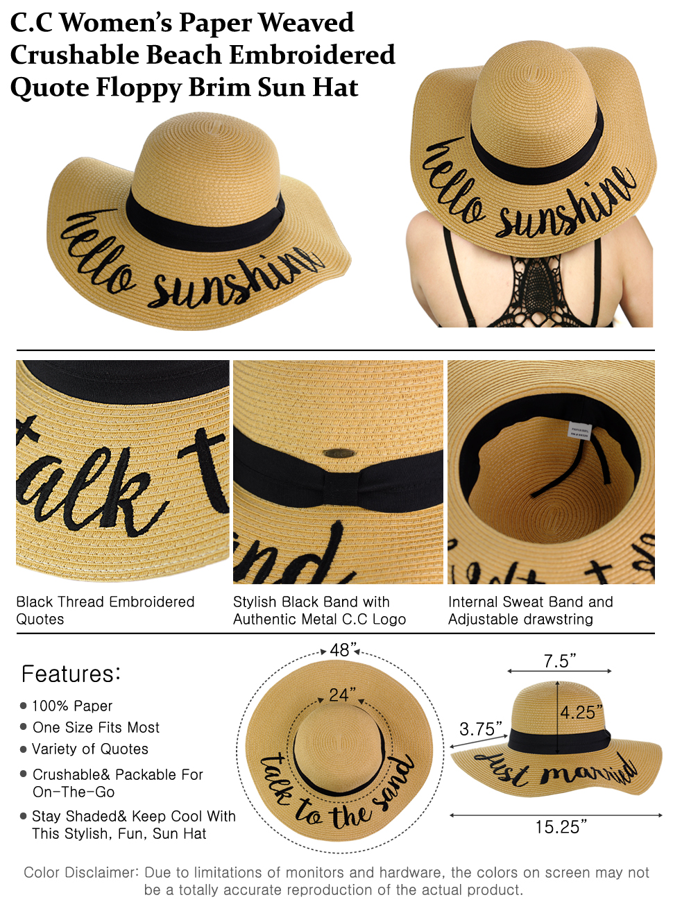 C.C Women s Paper Weaved Crushable Beach Embroidered Quote Floppy Brim Sun  Hat 1b67779ed3b