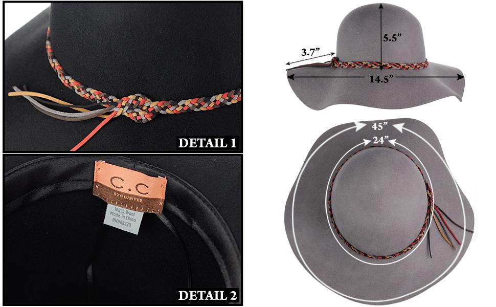c84e5a625 NYFASHION101 Exclusive Women's Felt Braided Trim Floppy Wool Hat