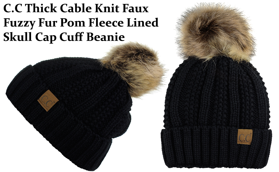 f77e1d5e6d959 C.C Thick Cable Knit Faux Fuzzy Fur Pom Fleece Lined Skull Cap Cuff Beanie