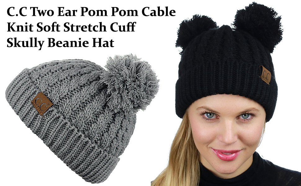 42e414e24d0 C.C 2 Ear Pom Pom Cable Knit Soft Stretch Cuff Skully Beanie Hat ...