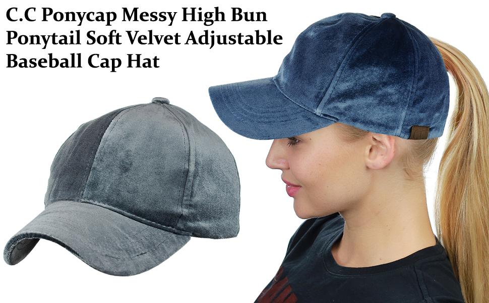 C.C Ponycap Messy High Bun Ponytail Soft Velvet Adjustable Baseball Cap Hat 9154a9c290a8