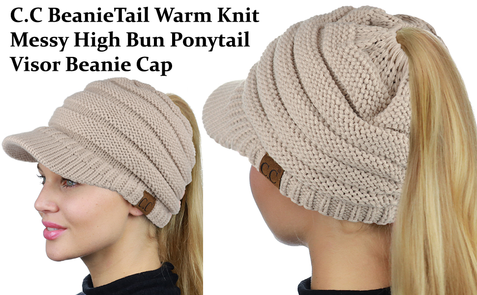 C.C BeanieTail Warm Knit Messy High Bun Ponytail Visor Beanie Cap ... 5af51bb53fb