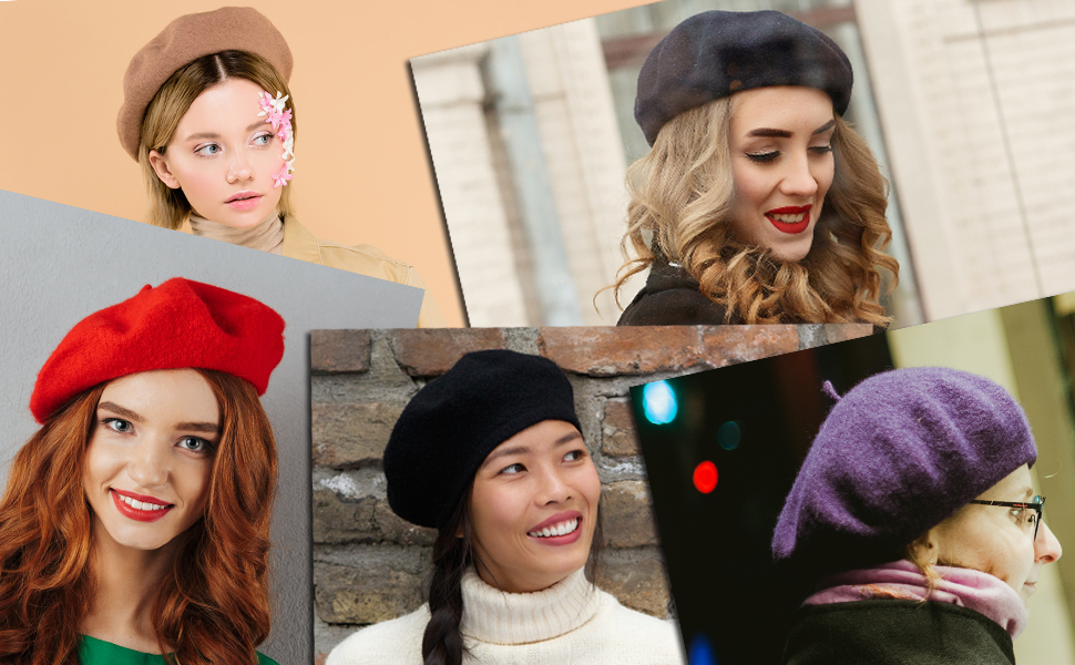 e019963ad931a NYFASHION101 French Style Lightweight Casual Classic Solid Color Wool Beret