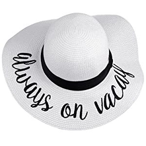 719ffc5d9fe C.C Women's Paper Weaved Crushable Beach Embroidered Quote Floppy Brim Sun  Hat