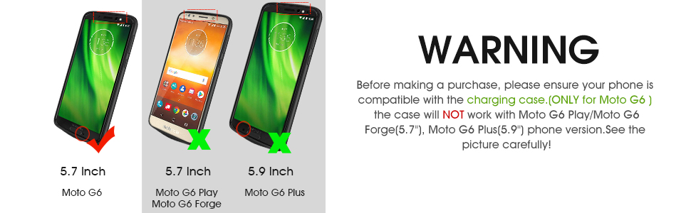buy popular 5ee45 ad850 Moto G6 Battery Case, NEWDERY 4000mAh Moto G6 Slim Extended Charger Case  with TPU Raised Bezels, Rechargeable Charging Case Cover for Motorola Moto  ...