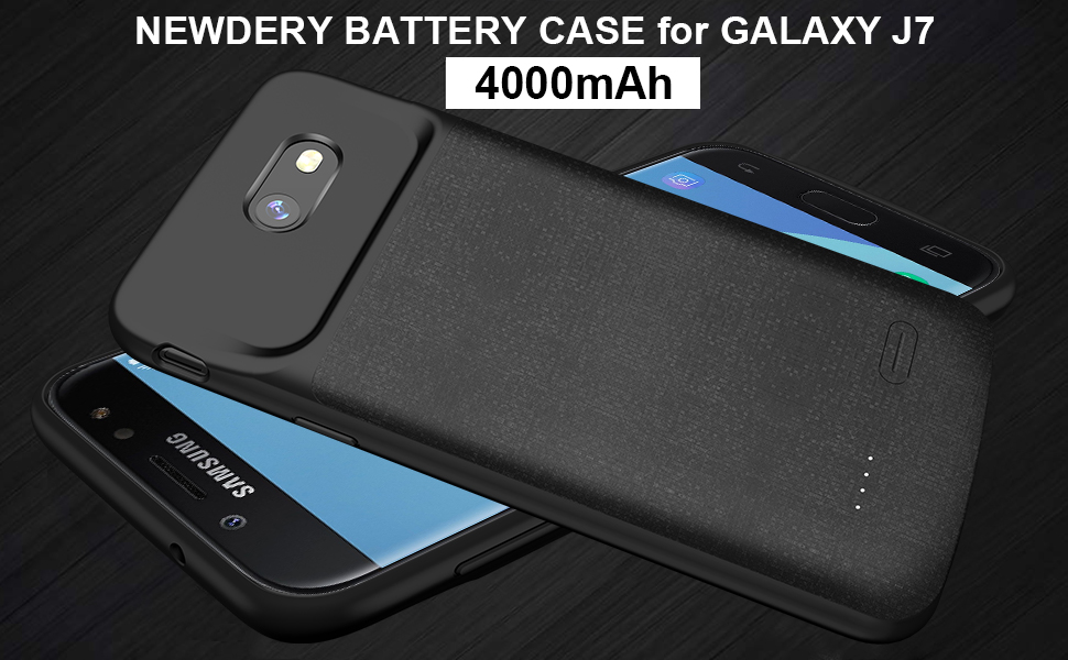 newest 4b1ad bdaf0 Galaxy J7 2017 Battery Case, J7 Sky Pro, J7 Prime, Charging Case, NEWDERY  4000mAh J7 Perx Slim Extended Charger Case with TPU Raised Bezel, Full ...
