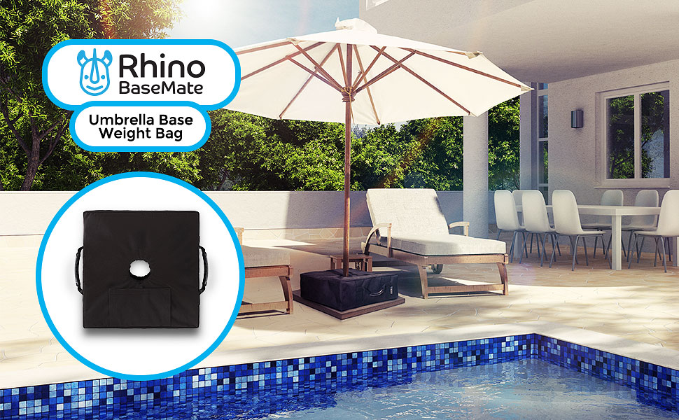 If Youu0027ve Ever Had Your Patio Umbrella Get Swept Up In A Gusty Breeze, The  Rhino BaseMate Umbrella Base Weight ...