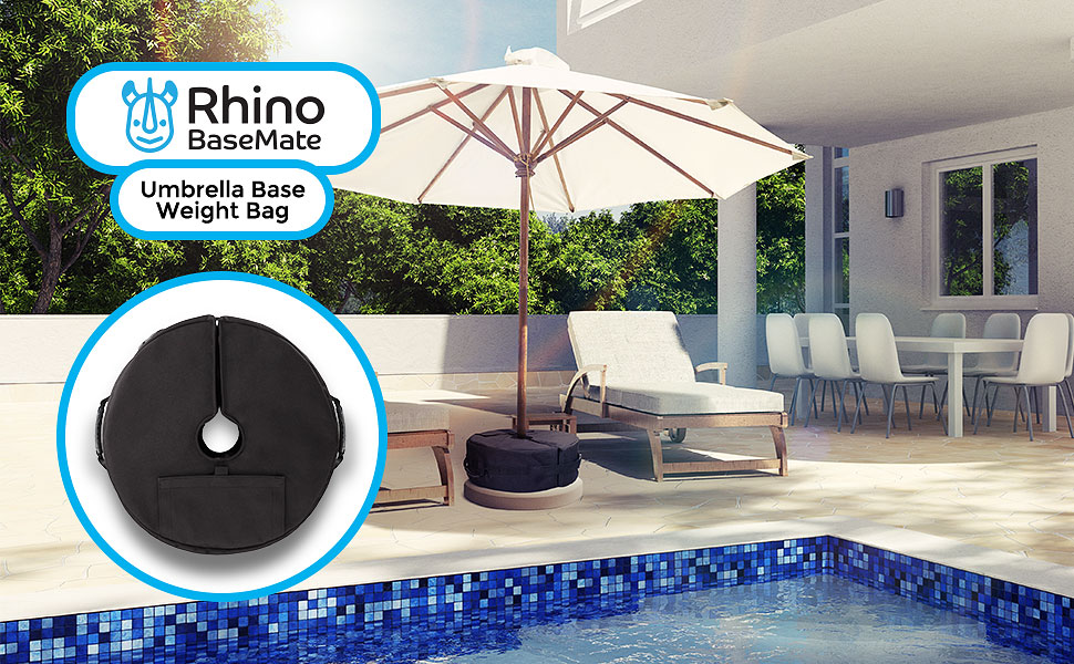 Etonnant If Youu0027ve Ever Had Your Patio Umbrella Get Swept Up In A Gusty Breeze, The  Rhino BaseMate Umbrella Base Weight ...