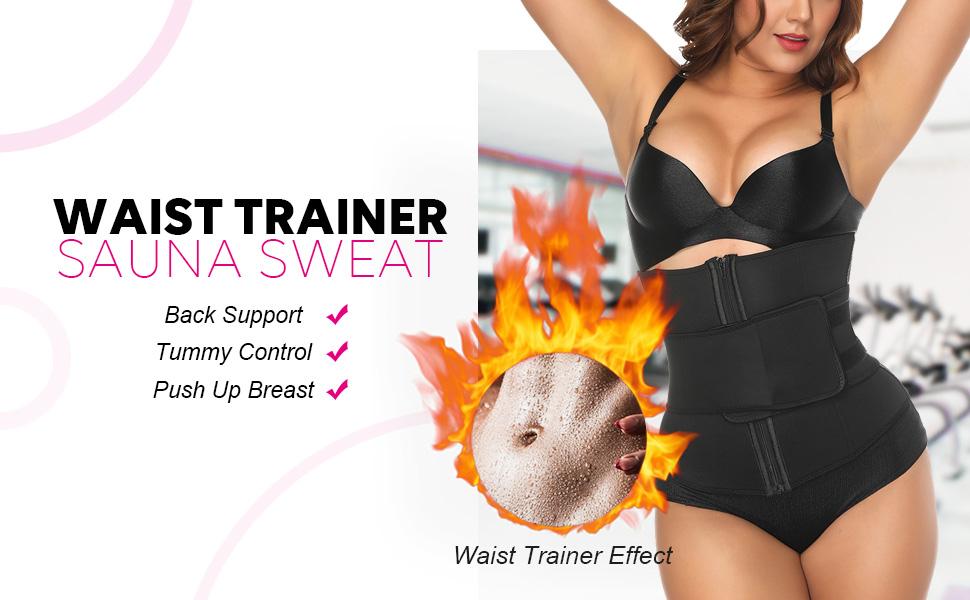 a81ffedd0f FEDNON Women s Hot Sweat Neoprene Workout Waist Cincher Trimmer Sweat Belt Waist  Trainer Corset Zipper Slimming Weight Loss Body Shaper