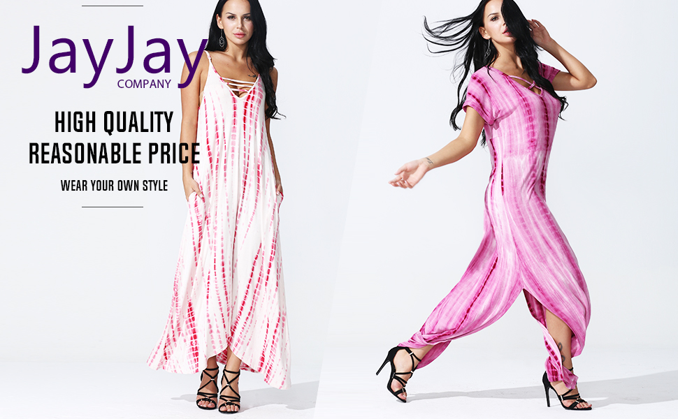 JayJay Tie Dye Sexy Casual Loose Fit Long Maxi Dress