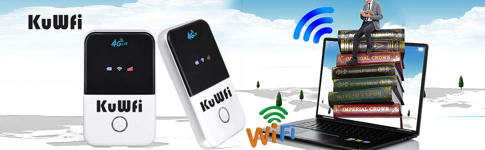 KuWFi 4G LTE Mobile WiFi Hotspot Unlocked Travel Partner Wireless 4G Router with SIM Card Slot Support LTE FDD B1/B3/B5 Support AT&T and US Cellular ...
