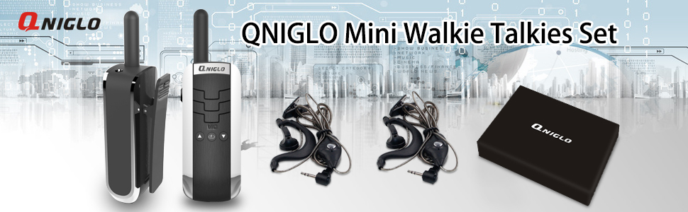 Qniglo Portable Mini Walkie Talkies Rechargeable 16 Channels Long Range Two Way Radios 450-470Mhz Walkie Talkie with Headphones for Hotel Restaurant Shopping Mall Bar Q311 1 Pair, Black