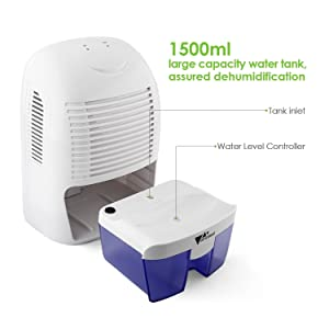Approx 700ml Per Day At (30°C,RH80%), And 1500ml Water Tank Capacity With  Removable Tray. Notice: RH45% To RH70% Is A Normal Air Humidity Range.