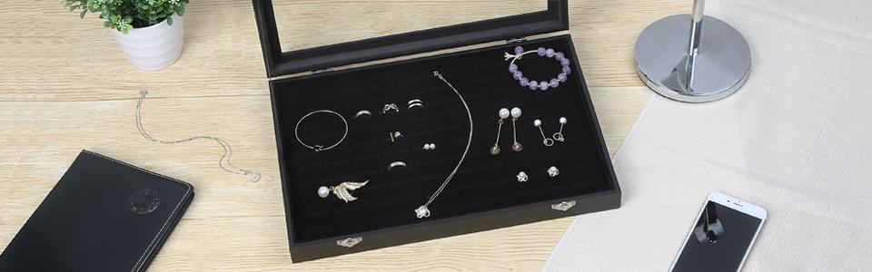Amazoncom Amzdeal Ring Box 100 Slot Jewelry Display Storage