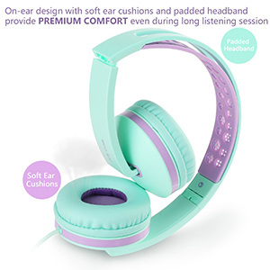 headphones - Kids Headphones For School, Jelly Comb Girls Lightweight Foldable Stereo Bass Kids Headphones With Microphone, Volume Control For Cell Phone, Tablet, Laptop, MP3/4(Green & Purple)- For Aged 6 Or Above