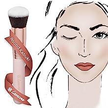 lamora, beauty, makeup, brush, kabuki, brushes, foundation, concealer, luxury, set, soft, 10