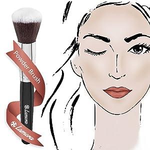 lamora, beauty, makeup, brush, kabuki, brushes, foundation, concealer, luxury, set, soft, white