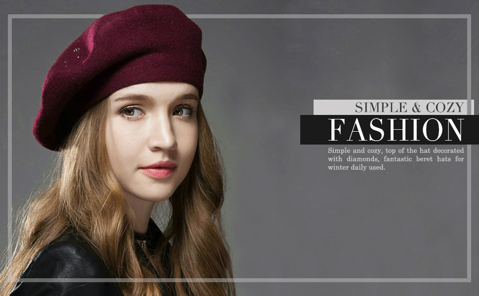 2c49ee7014c Amazon.com  Sumolux Women Beret Hat French Wool Beret Beanie Cap ...