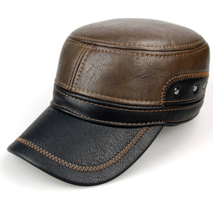 ad870b1815349 LEATHER   EXQUISITE DESIGN. Classic army style flat top leather baseball cap