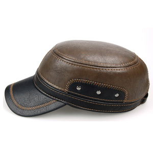 c17001a6a776b SUMOLUX Winter Leather Cap with Earflap Military Cadet Army style ...
