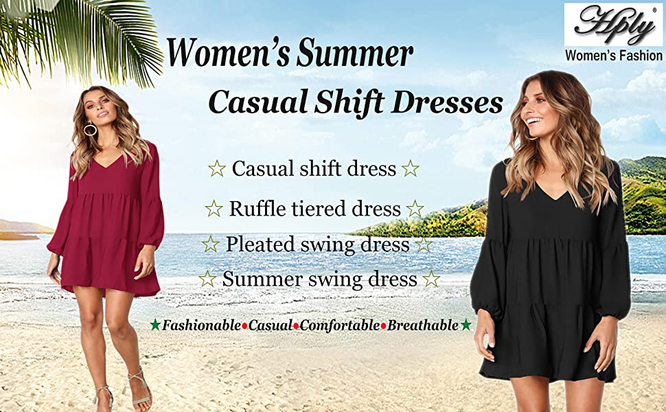 430b0b5c95c1 ... are at your fingertips with the HPLY Casual Ruffle Pleated Shift Dress!  Sleek woven poly shapes this long sleeve shirt dress with deep