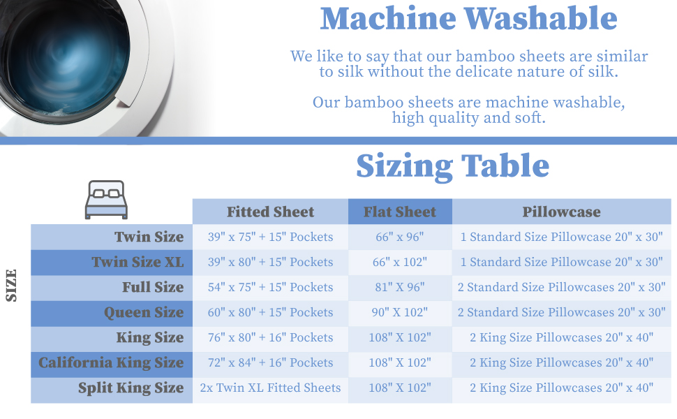 Hotel Sheets Direct 100% Bamboo Sizing Table