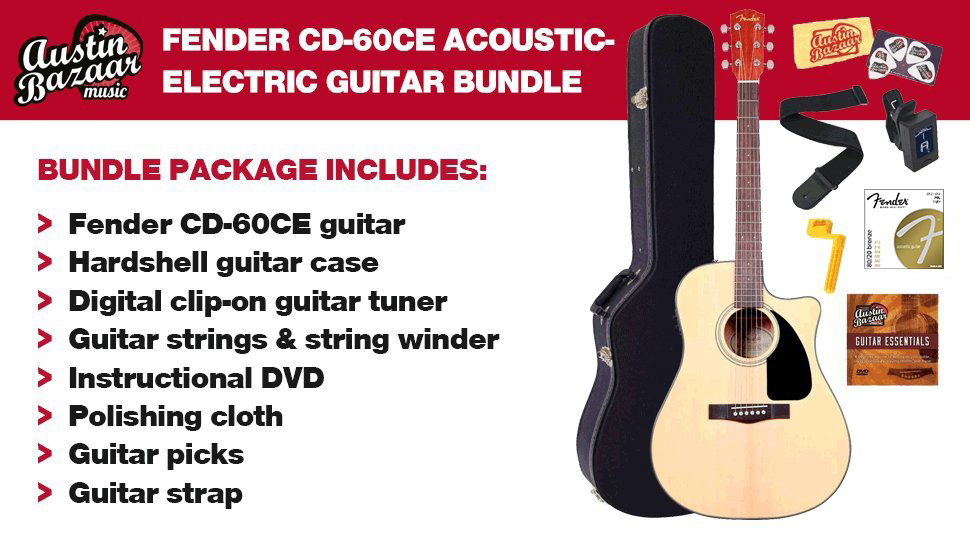Fender CD-60SCE Dreadnought Acoustic-Electric Guitar - Natural Bundle with  Hard Case, Cable, Tuner, Strap, Strings, Picks, Austin Bazaar Instructional