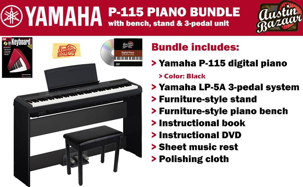 yamaha p 115 digital piano black bundle with. Black Bedroom Furniture Sets. Home Design Ideas