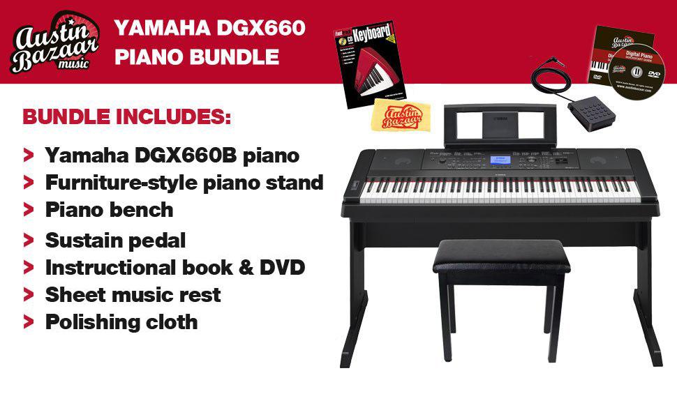 yamaha dgx 660 digital piano black bundle with furniture bench instructional book. Black Bedroom Furniture Sets. Home Design Ideas