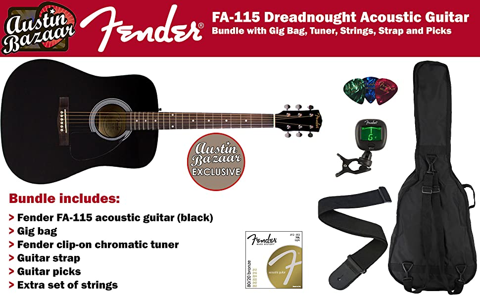 The FA-115 acoustic guitar offers great Fender sound and tremendous value to anyone looking to get their musical journey started on the right foot.