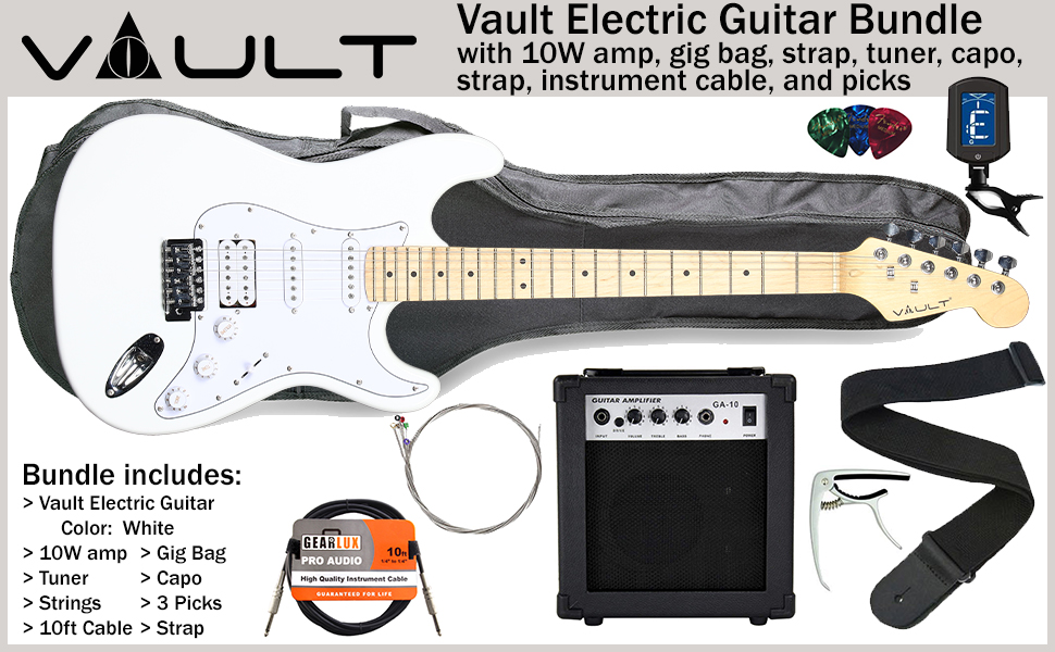 On-Stage Electric Guitar Accessory Bundle w// Tuner Strap Picks and Bag Stand