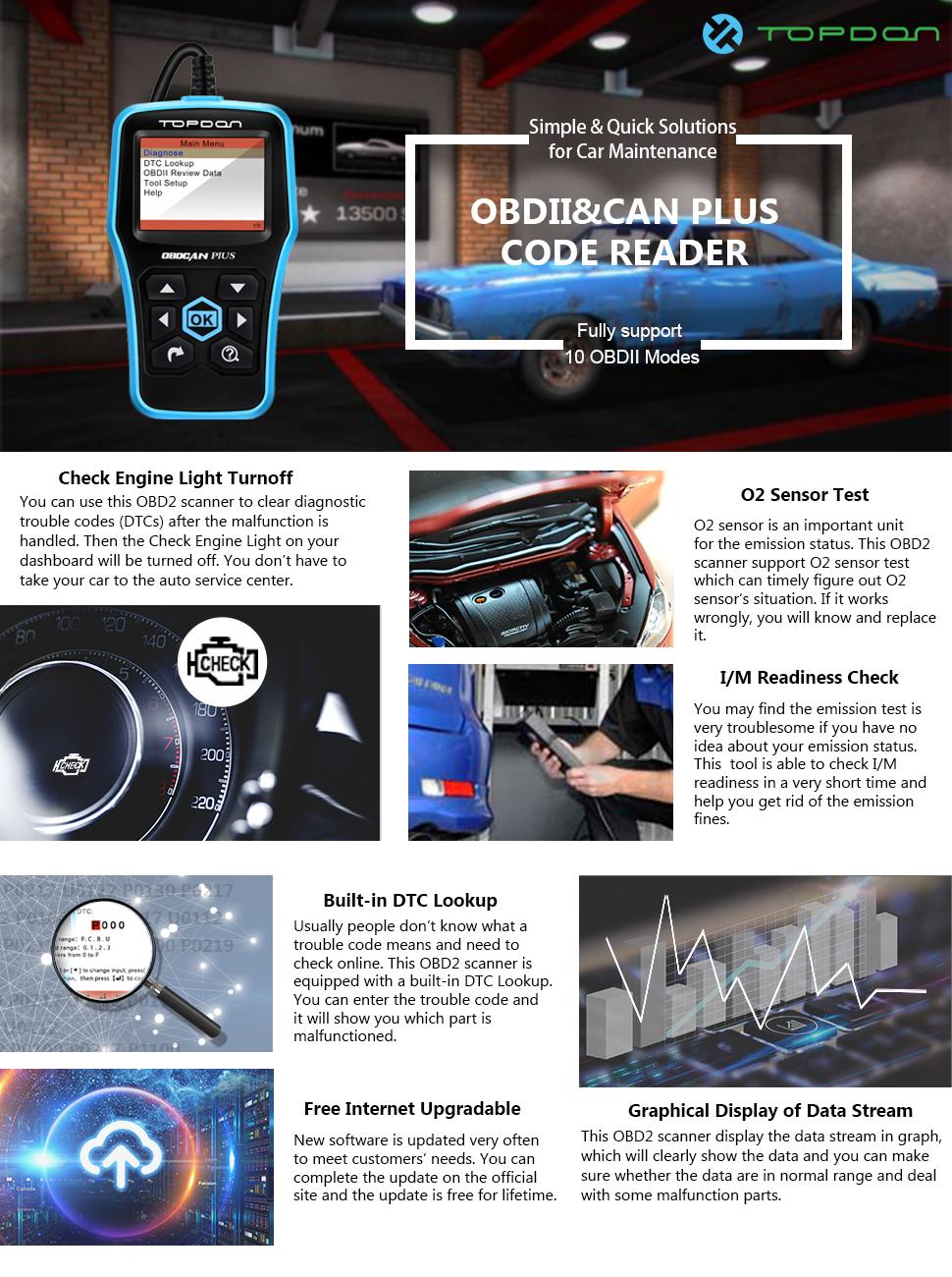 Amazon Com Car Code Reader Tt Topdon Can Obd2 Scanner