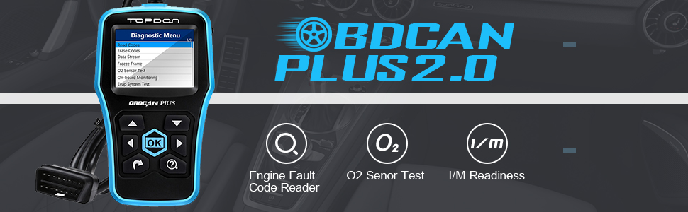 Code Reader, TT TOPDON Car Computer Diagnostic Tool OBD2 Scanner Read/Clear  Engine Codes OBD II Full Function with O2 Sensor Test and On-board Monitor