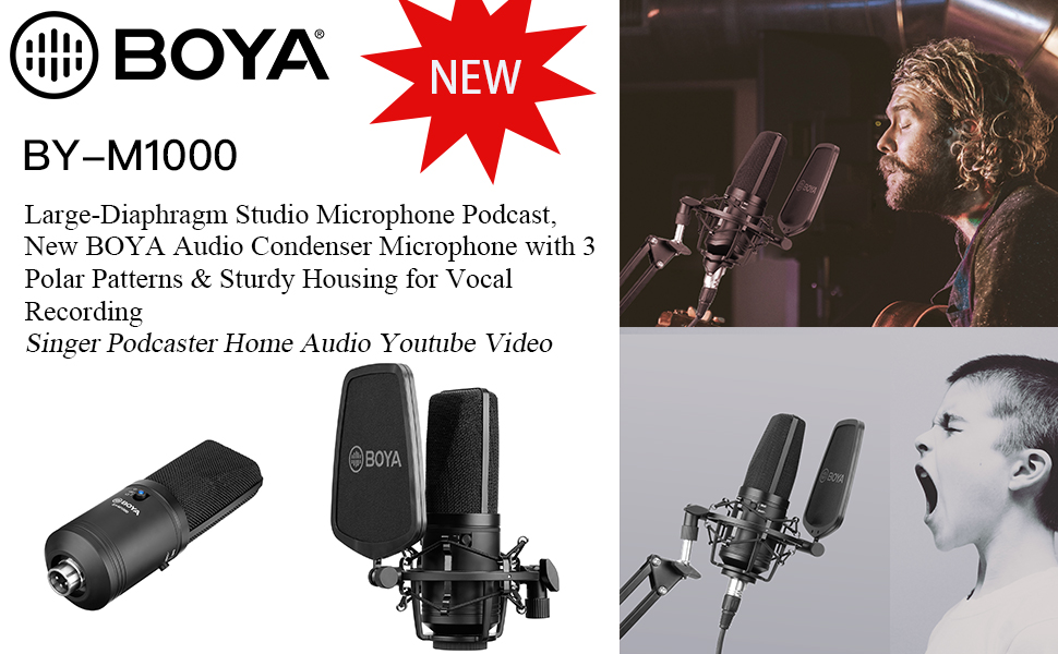 Large-Diaphragm Studio Microphone Podcast, New BOYA Audio Condenser Microphone