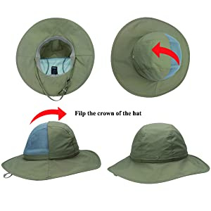 e3dd97234c999 ... Crushable Ventilated Sun Hat-Khaki-Sun Protective UPF 50+. Effective  control of skin temperature