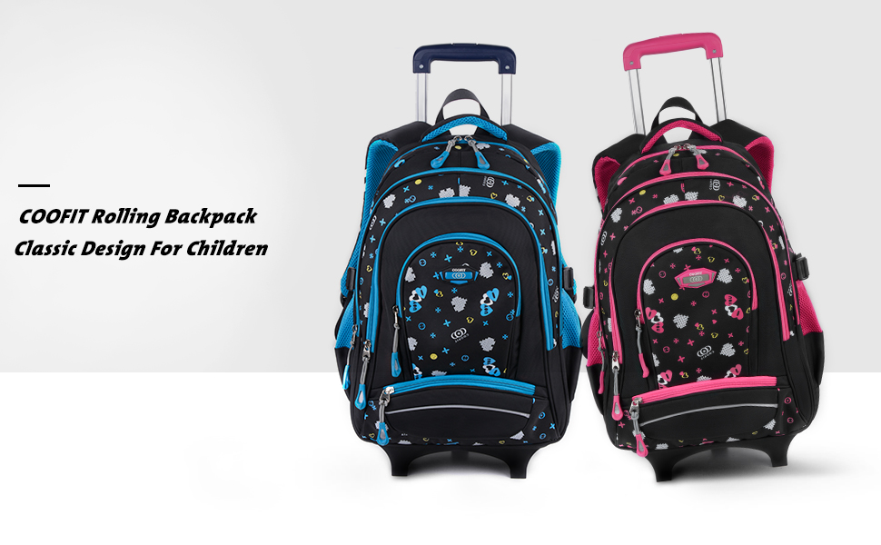 Amazon Com Rolling Backpack Coofit Kids Backpack Wheeled Backpack