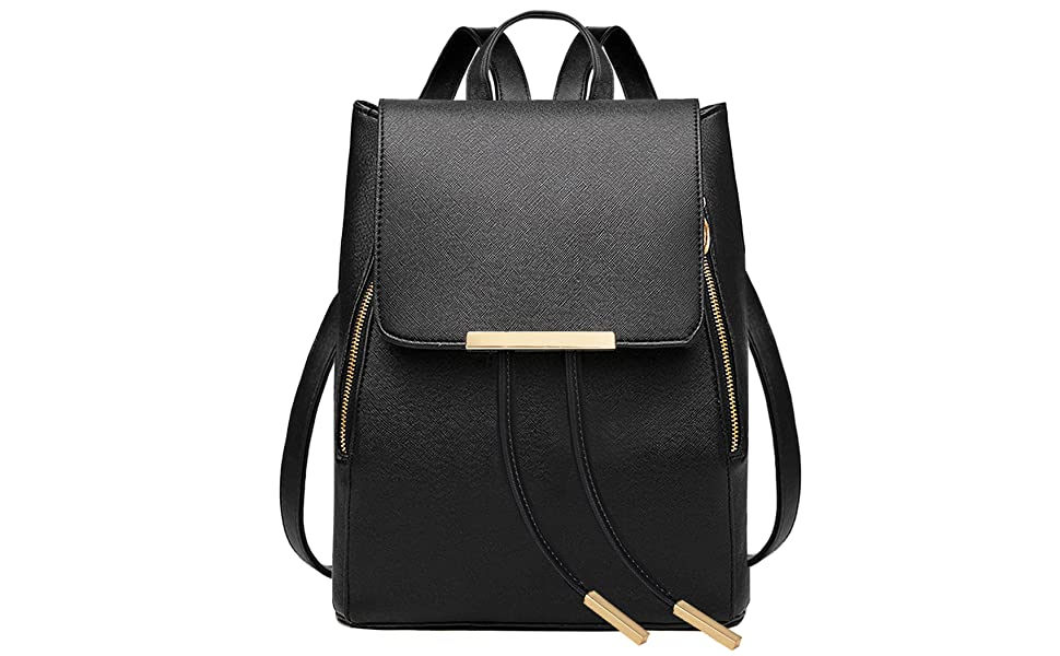Amazon.com  COOFIT Black Faux Leather Backpack for Girls Schoolbag ... bad075088b