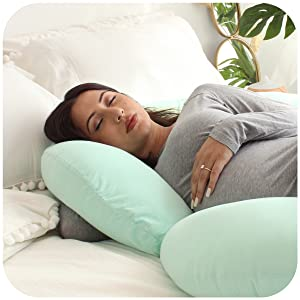 Sanitary Pillow Case Cover Maternity Pregnancy Sleep Full Body Support Green